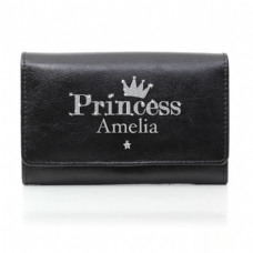Princess Black Leather Purse